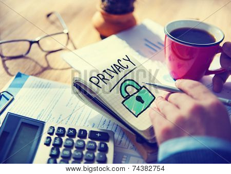 Businessman Writing Privacy Security Concept