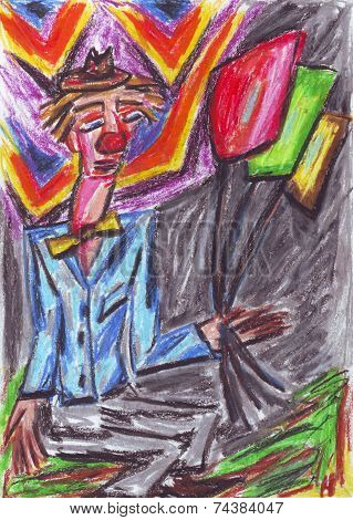 Clown Oil Pastel Painting