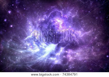 Deep space nebula with starfield.