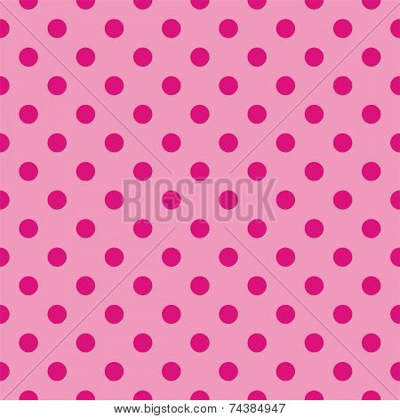 Seamless vector pattern or tile texture with dark pink polka dots on pastel pink background