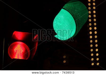 traffic light. green light bulb in focus.