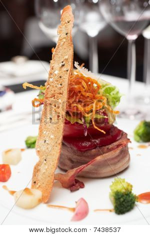 Elegant Tenderloin Steak With Steamed Vegetables