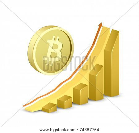 Growth chart with bitcoin sign. Symbol of bitcoin and growing arrow graph. Vector illustration