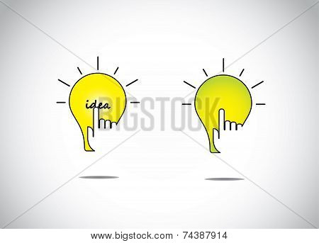 Yellow Orange Bright Lightbulb Idea Solution With A Young Human Hand Silhouette Touch Web App