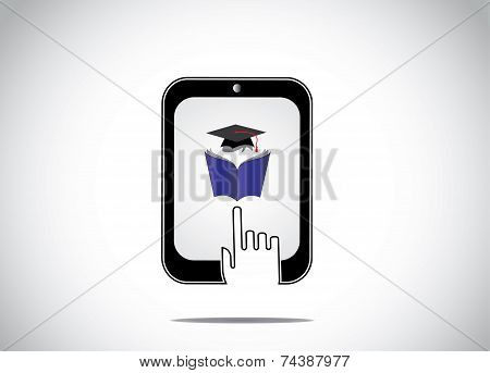 Icon Of Young Student Reading Book With Graduation Cap In A Tablet And A White Hand Silhouette Touch