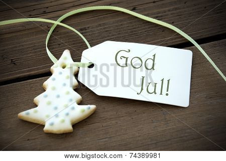 Christmas Label With God Jul
