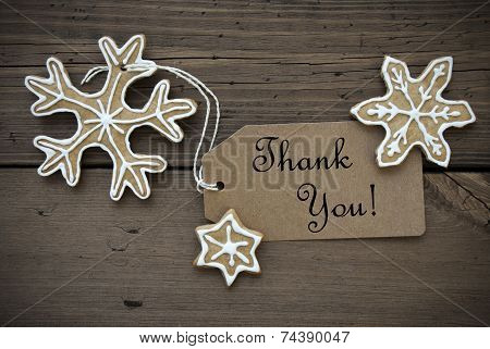 Thank You Banner With Ginger Bread Snowflakes