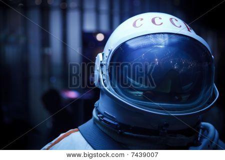 Space Museum. Photo spacesuit. Inscription on the helmet USSR. Close-up.