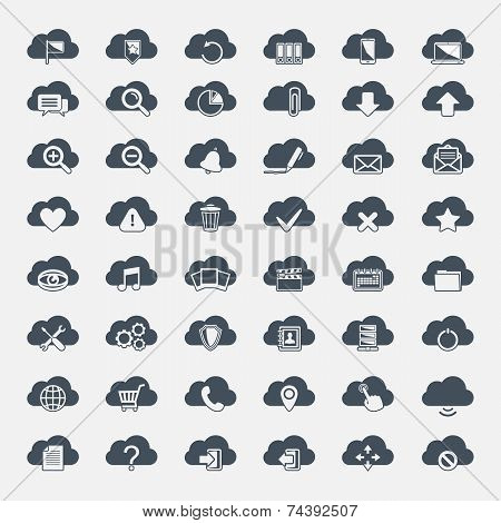 Big vector cloud  icons set