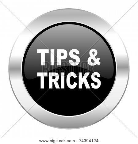 tips tricks black circle glossy chrome icon isolated