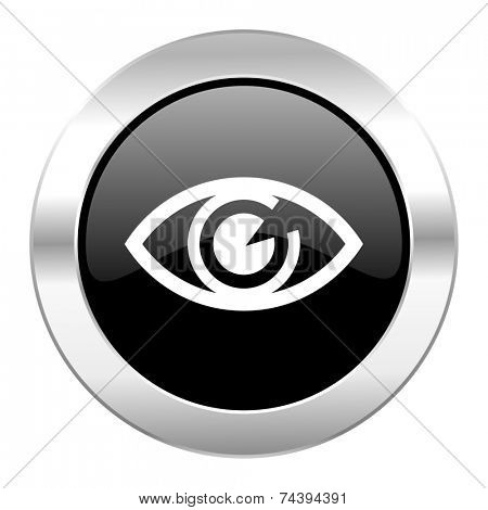 eye black circle glossy chrome icon isolated