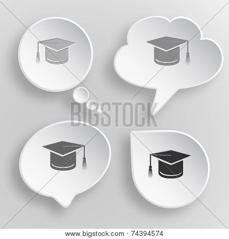 Graduation cap. White flat raster buttons on gray background.
