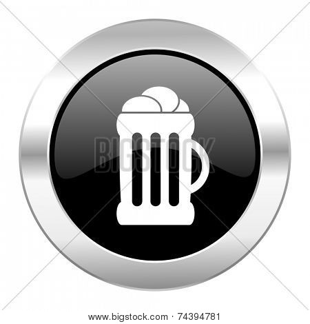 beer black circle glossy chrome icon isolated