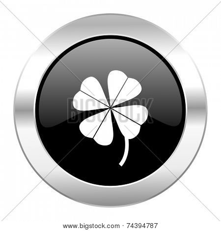 four-leaf clover black circle glossy chrome icon isolated