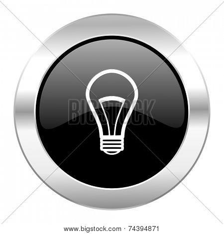 bulb black circle glossy chrome icon isolated