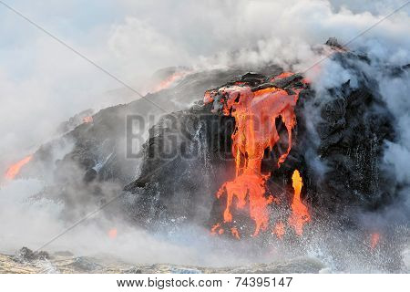 Hawaiian Magma Flowing into Ocean