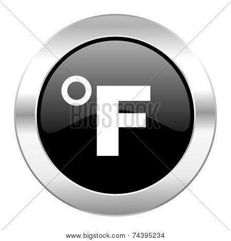 fahrenheit black circle glossy chrome icon isolated