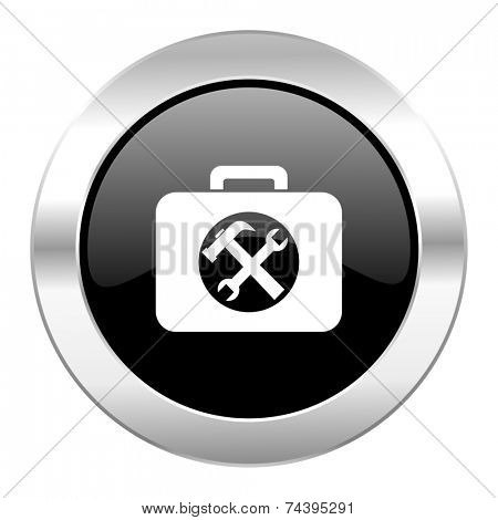 toolkit black circle glossy chrome icon isolated