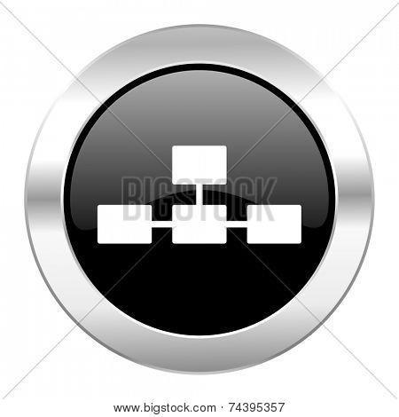 database black circle glossy chrome icon isolated