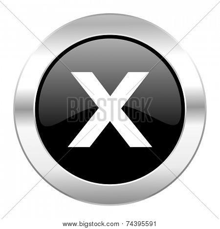 cancel black circle glossy chrome icon isolated
