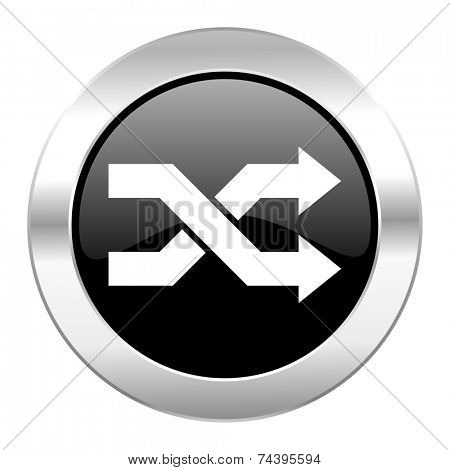 aleatory black circle glossy chrome icon isolated
