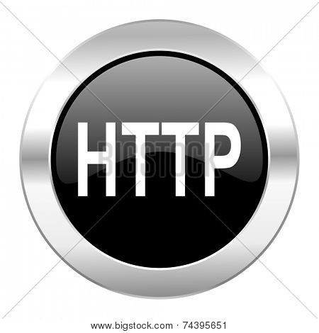 http black circle glossy chrome icon isolated