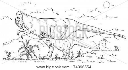 vector - dinosaurs family at countryside , isolated on background
