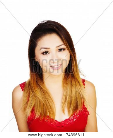 Asian American Woman Red Top Uncertain Expression