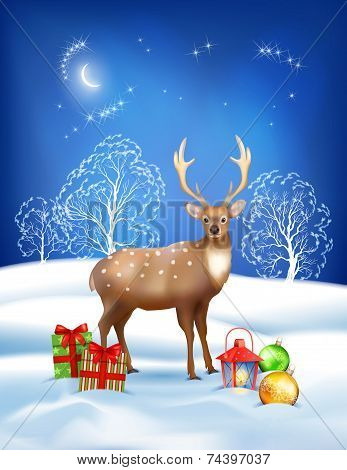 Vector Christmas Winter Night Background