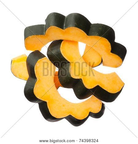 Acorn Squash Slices Isolated On White