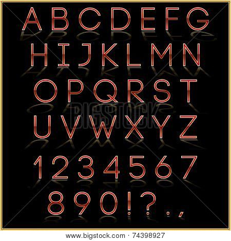 Vector red alphabet letter, digits and punctuation signs with reflection on dark background