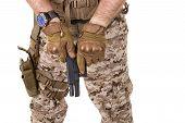 stock photo of glock  - Soldier man in camouflage uniform - JPG
