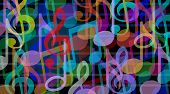 picture of harmony  - Musical background and music arts symbol as a group of melody notes combined together in an audio harmony concept - JPG