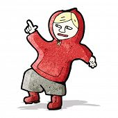 stock photo of hooded sweatshirt  - cartoon boy in hooded sweatshirt dancing - JPG