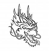 stock photo of dragon head  - Dragon Head Editable Vector art and Illustration Design - JPG