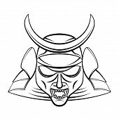 stock photo of shogun  - Samurai Mask Editable  - JPG
