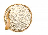 pic of sleet  - barley grit in weave basket on white background - JPG