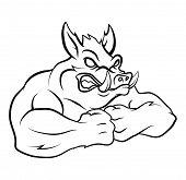 picture of razorback  - Strong Wild boar Editable  - JPG