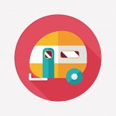 image of travel trailer  - Travel Trailer Flat Icon With Long Shadow - JPG