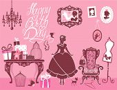 stock photo of dog birthday  - Princess Room with glamour accessories furniture cages gift boxes pictures - JPG