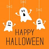 stock photo of funny ghost  - Three hanging Halloween ghosts - JPG