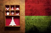 foto of christmas bells  - Christmas decoration on a old grungy wooden surface - JPG