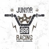 Постер, плакат: Emblem Motorcycle Racing Junior