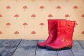 stock photo of boot  - Red rubber boots - JPG