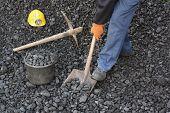 picture of power-shovel  - Miner working at shoveling coal mine industry - JPG