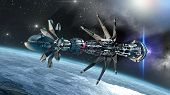 image of alien  - Futuristic military spacecraft with a warp drive in the initiating state - JPG