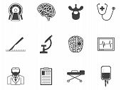 image of cerebrum  - Set of black silhouette vector icons with elements for neurosurgery on white background - JPG