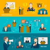 picture of public speaking  - Public speaking banner set of business presentation public figure isolated vector illustration - JPG