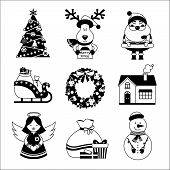 pic of merry chrismas  - Chrismas new year decorative icons black and white with gift box deer snowman isolated vector illustration - JPG