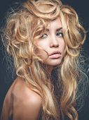 picture of perm  - Beautiful woman with magnificent blond hair - JPG